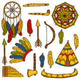 Set of cartoon hand drawn objects on injun theme Stock Photography