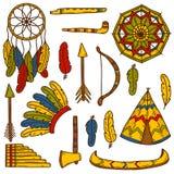 Set of cartoon hand drawn objects on injun theme Stock Photography