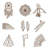 Set of cartoon hand drawn objects on injun theme Stock Image