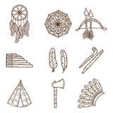 Set of cartoon hand drawn objects on injun theme Stock Image