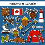 Set of cartoon hand drawn stickers on Canada theme Royalty Free Stock Images