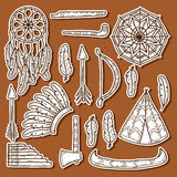 Set of cartoon hand drawn stickers on injun theme Stock Photography