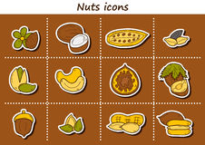 Set of cartoon hand drawn stickers on nuts theme Royalty Free Stock Photos