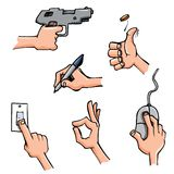 Set of Cartoon hands in everyday poses Stock Photography