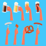 Set of cartoon hands holding beer and traditional german food. Stock Images