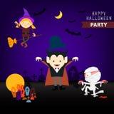 Set of cartoon happy halloween background Royalty Free Stock Image