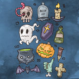 Set Of Cartoon Happy Halloween icons. Halloween Stickers Set. Cartoon Icons and Other Elements. Royalty Free Stock Photography