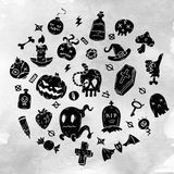 Set Of Cartoon Happy Halloween icons. Halloween Stickers Set. Cartoon Icons and Other Elements. Royalty Free Stock Photos