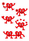 Set of  cartoon happy love hearts. Set of funny  cartoon sweet happy love hearts with eyes, hands and legs and various facial expressions isolated on white Royalty Free Stock Image