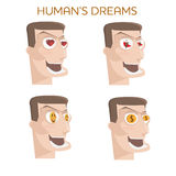 Set cartoon happy people face with various human's dreams Royalty Free Stock Photo