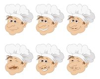 Set cartoon heads chef in a toque caps Royalty Free Stock Images