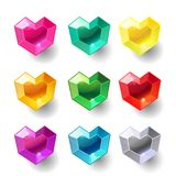 Set of cartoon heart different color crystals. Gemstones, gems,diamonds vector gui assets collection for game design isolated on white background. Gui elements Vector Illustration