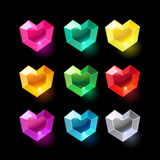 Set of cartoon heart different color crystals Stock Photo