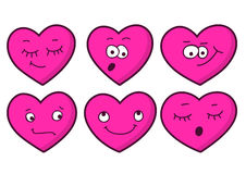 Set of cartoon heart emotions. Valentine's greeting card. Vector Royalty Free Stock Photos