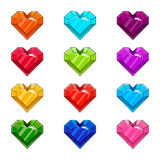 Set with cartoon hearts. Game design illustration Royalty Free Stock Photo