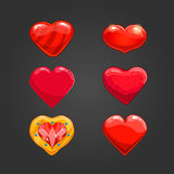 Set with cartoon hearts. Valentines vector illustration Stock Photo
