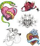 Set of cartoon hearts Stock Photography