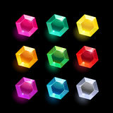 Set of cartoon hexagon different color crystal Stock Photos