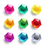 Set of cartoon hexagon different color crystals. Gemstones, gems,diamonds vector gui assets collection for game design isolated on white background. Gui Stock Illustration