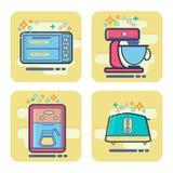 Set of cartoon home appliance icon. Vector set of cartoon home appliance icon. MBE flat style design icons Stock Photos
