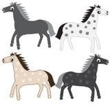 Cartoon horses. Set Cartoon horses four variants Royalty Free Stock Photo