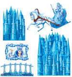 Set cartoon house for fairy tale Snow Queen written by Hans Christian Andersen Stock Photos