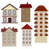 Set of cartoon houses. Royalty Free Stock Image