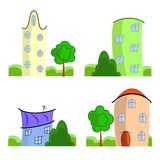 Set of cartoon houses. Set of colorful cartoon houses on white background Stock Image