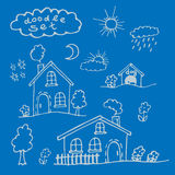 A set of cartoon houses painted by hand. Royalty Free Stock Photo