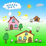 A set of cartoon houses painted by hand. Vector illustration Stock Photos