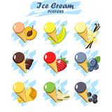 Set of cartoon ice cream icons Stock Images