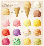 Set of cartoon ice cream icons. Ice cream scoops and waffle cone. Different favors and colors Stock Image