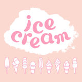 Set of cartoon ice cream and lettering. Vector collection Stock Images