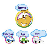 Set of cartoon icon - bus, trolley bus, car, house. Royalty Free Stock Photos