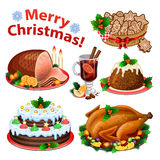 Set of cartoon icons for Christmas dinner Stock Image