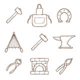 Set of cartoon icons in hand drawn style on Royalty Free Stock Photos