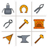 Set of cartoon icons in hand drawn style on Royalty Free Stock Photography