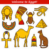 Set of cartoon icons in hand drawn style on Egypt Royalty Free Stock Photos