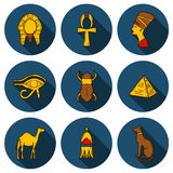 Set of cartoon icons in hand drawn style on Egypt Royalty Free Stock Photo