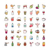 Drinks icons set. Set of cartoon icons isolated on white background. Collection of drinks for design and decoration stock illustration