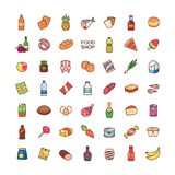 Icons food shop. Set of cartoon icons isolated on white background. Collection of food for design and decoration Royalty Free Stock Images