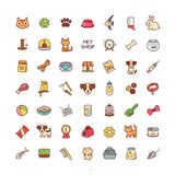 Icons pet shop. Set of cartoon icons isolated on white background. Collection of illustrations for pet shop Royalty Free Stock Photo