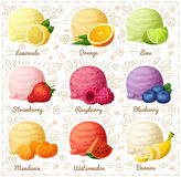 Set of cartoon  icons isolated on white background. Ice cream scoops with different fruit and berry flavors Stock Image