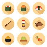 Set of cartoon icons with japanese cuisine objects Stock Image