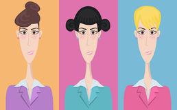 Set of cartoon icons, office style. Girl Royalty Free Stock Image