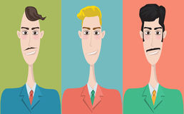 Set of cartoon icons, office style. Guys Royalty Free Stock Photos