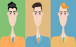 Set of cartoon icons, office style. Guys Royalty Free Stock Photography