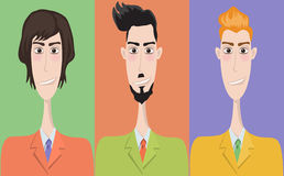 Set of cartoon icons, office style. Guys Royalty Free Stock Images