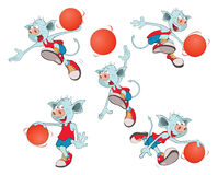 Set of  Cartoon Illustration  Basketball Team Cartoon Character Stock Photo