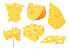 Set of Cartoon Illustration. Cheese Clip Art for you Design Stock Photos
